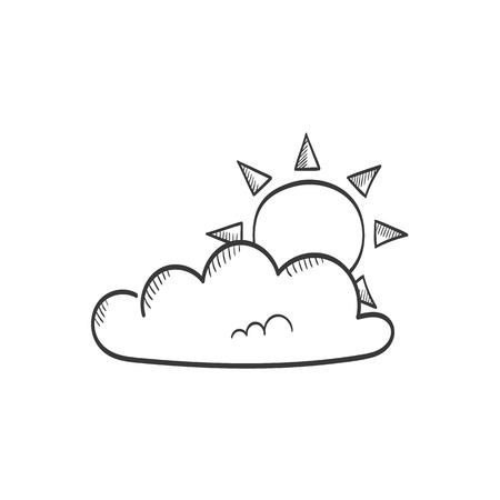 Sun in cloud vector sketch icon Ilustração