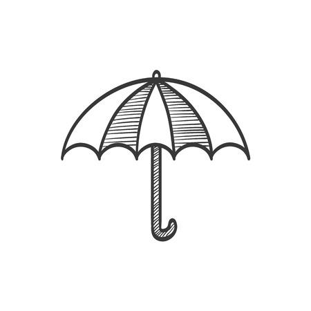 umbel: Artistic Umbrella vector sketch icon