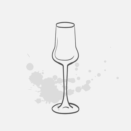 wineglass: Grappa glass vector sketch icon Illustration