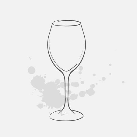 white wine glass vector sketch icon Ilustração