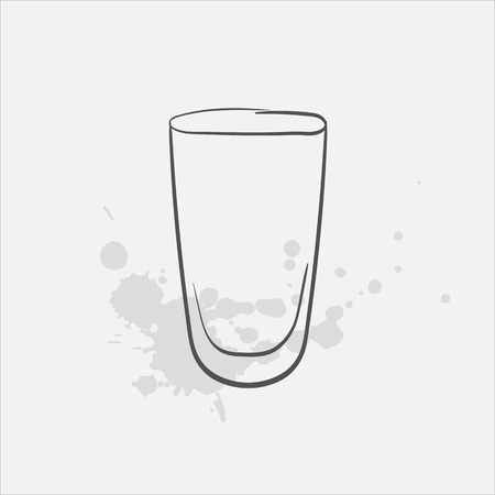 Pint glass vector sketch icon
