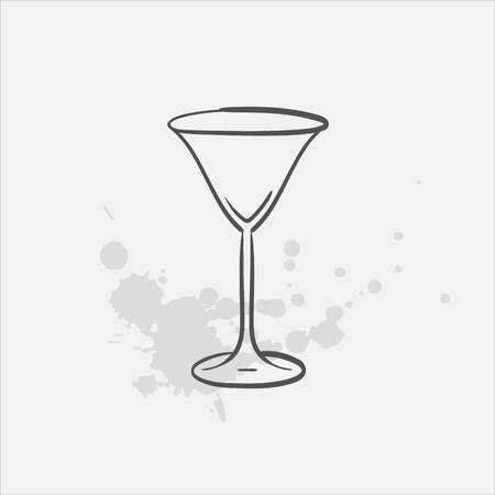 Cocktail glass vector sketch icon