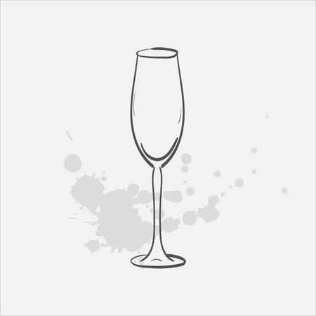 Flute glass vector sketch icon