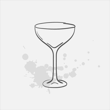 Margarita glass sauser vector sketch icon  イラスト・ベクター素材