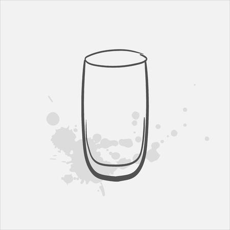 Highball glass vector sketch icon