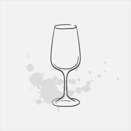 Wine glass vector sketch icon Ilustração