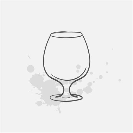 Brandy glass vector sketch icon