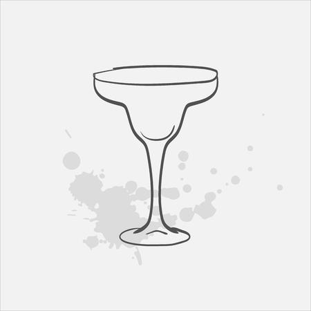 margarita glass welled vector sketch icon Ilustração