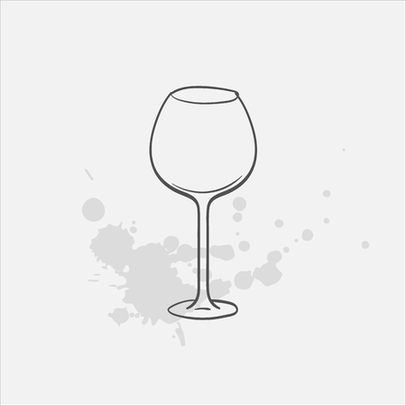 red wine glass vector sketch icon Vectores