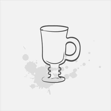 irish coffee glass footed vector sketch icon