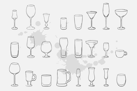 glass vector sketch icon collection Ilustração