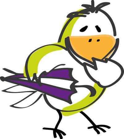Bird with umbrella Stock Vector - 10480222