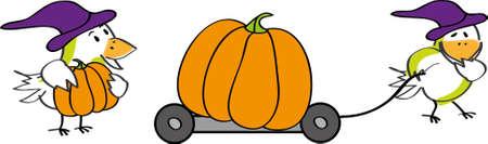 Two birds with Halloween pumpkins Stock Vector - 10768071