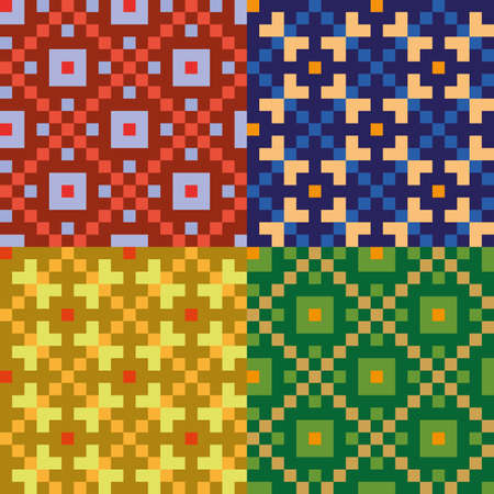 Four colorful seamless patterns Illustration