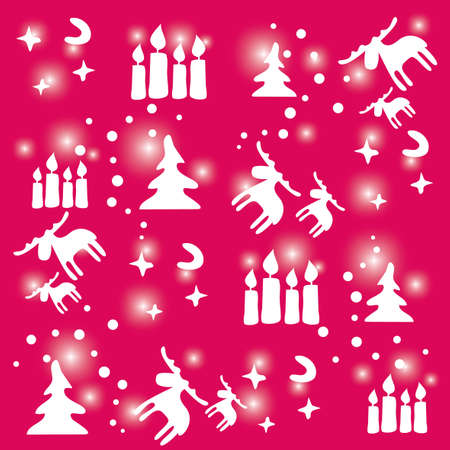 Seamless pattern of Christmas with Rudolph and candles Vector