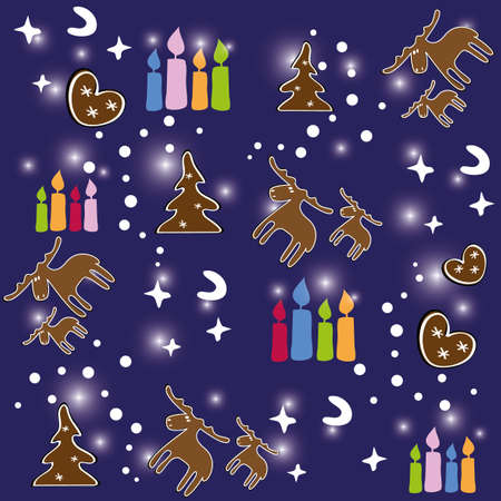 Seamless pattern of Christmas with gingerbread and candles Illustration