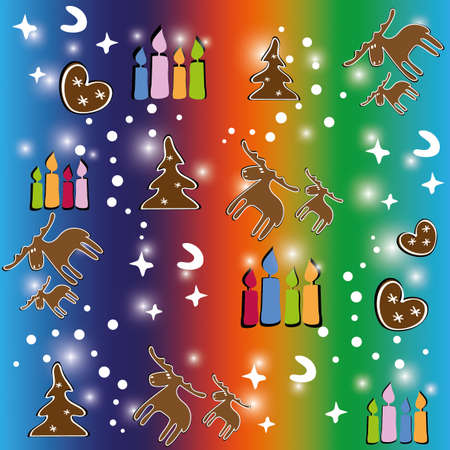 Colorful seamless pattern of Christmas with gingerbread and candles Vector