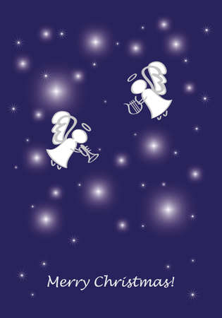 Christmas greeting card with angels Vector