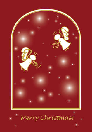 Christmas greeting card with angels