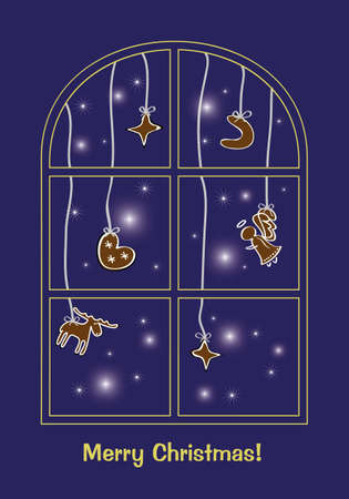 Christmas greeting card with gingerbread Vector