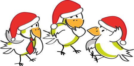 Illustration of birds and Christmas time Illustration