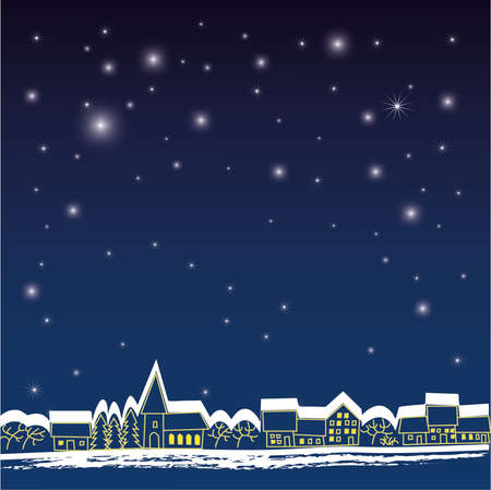 Background with stars and town Vector