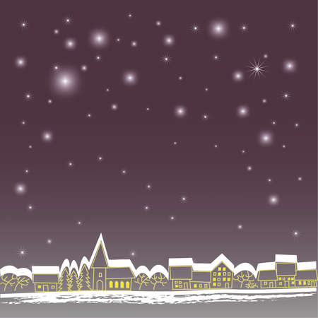 Background with stars and town Illustration