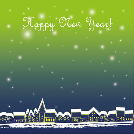 Background with stars and town Stock Vector - 10979628