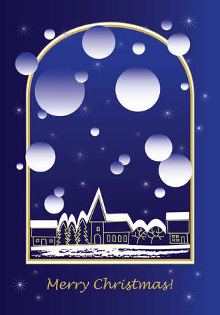 Christmas greeting card with town Illustration
