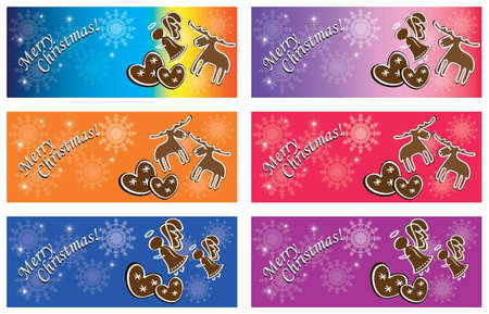Christmas banners with gingerbread Vector