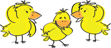 illustration of three Easter chicks
