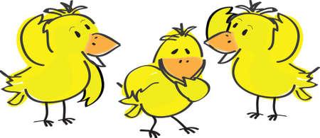 illustration of three Easter chicks