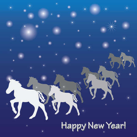 New Year s greeting card with horses