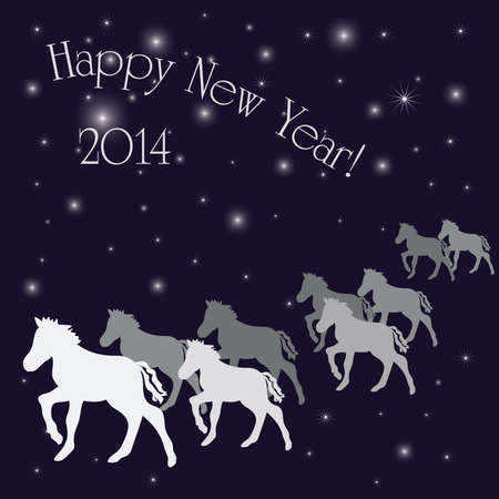 New Year s greeting card with silver horses
