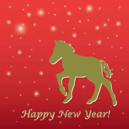 Red New Year s greeting card with horse