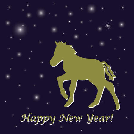Night blue New Year s greeting card with horse Illustration