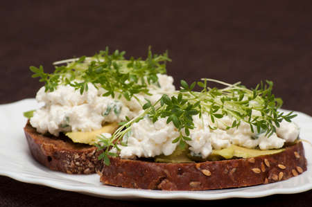 cress: Sandwich with germinated seeds of garden cress