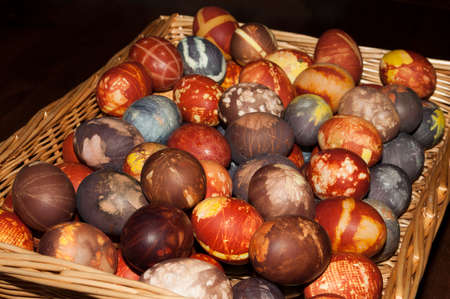 Easter eggs painted with natural colors- onion peels and blueberries Stock Photo
