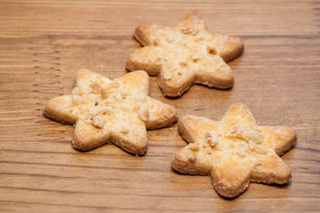 Cookies with nuts in shape of stars Stock Photo