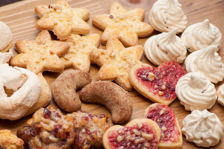 Cookies with nuts and cinnamon in different shape for Christmas