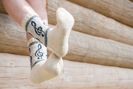 Pair of knitted socks for musician Stock Photo