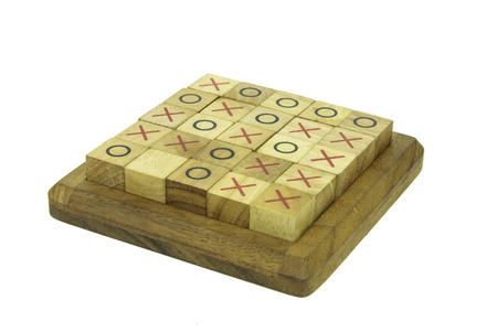 Tic Tac Toe game made from wood photo