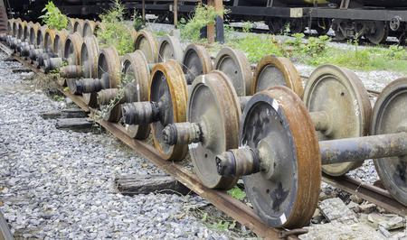 old rusty wheels of train photo