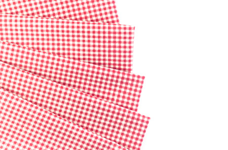 fabric cotton: Red canvas tablecloth isolated on white background