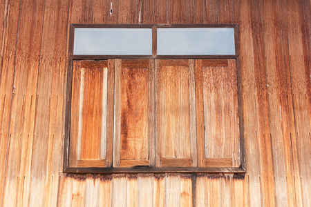 oldened: Old wooden window. Thailand traditional style