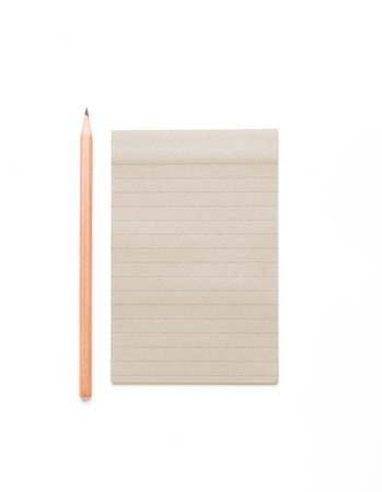 legal pad: Blank note paper with lines and pencil on white background