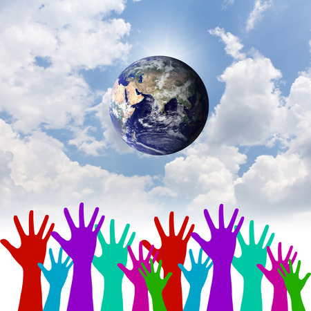 environmental concern: Group of Hands United as One for Global Environmental Preservation.Environment concept.