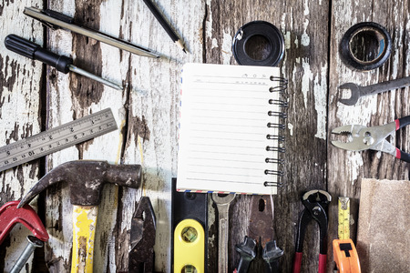 wirecutters: Organized copyspace white blank sheet of paper and tools on wooden board