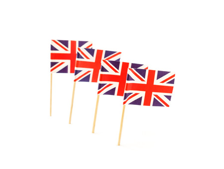 toothpick: United Kingdom, England flag in toothpick against white background