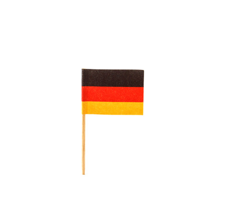 german flag: German flag in toothpick against white background